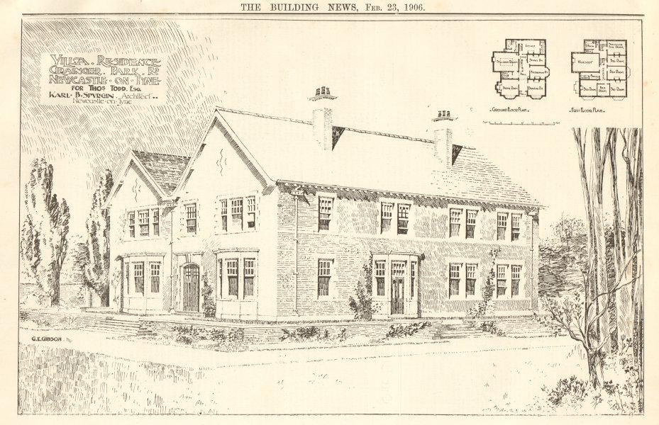 Associate Product Villa Residence Grainger, Park Road, Newcastle-on-Tyne. Thos Todd. Spurgin 1906
