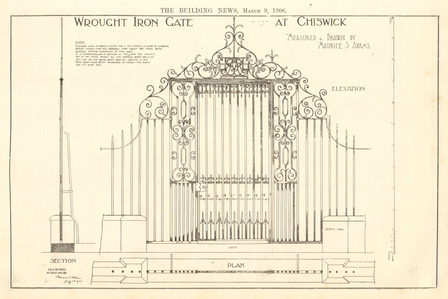 Associate Product Wrought Iron Gate, Chiswick drawn by Maurice Adams. Sketch elevation plan 1 1906