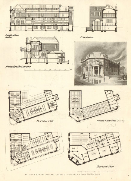 Associate Product Hackney Central Library design. H.A. Crouch, Architect. Sketch section plan 1906