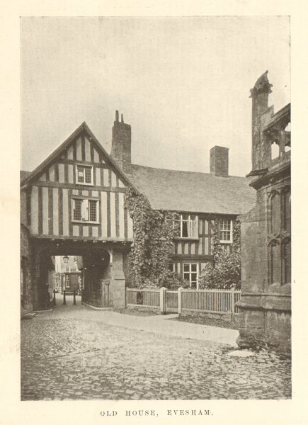 Associate Product Old house, Evesham. By Fletcher Moss. Worcestershire 1906 antique print