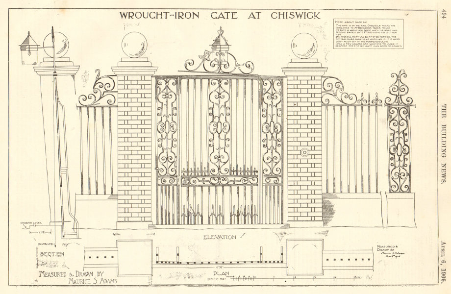 Associate Product Wrought Iron Gate, Chiswick drawn by Maurice Adams. Sketch elevation plan 2 1906