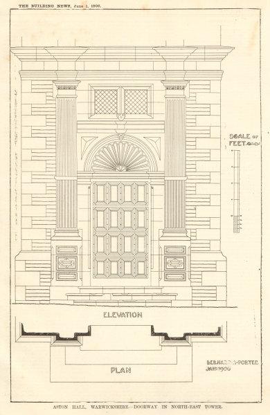 Associate Product Aston Hall, Warwickshire. NE tower doorway, Bernard Porter. Elevation plan 1906