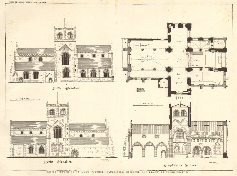 Associate Product Priory Church of St. Mary, Cartmel, Cumbria. Drawn by Frank Hearne. Plans 1906