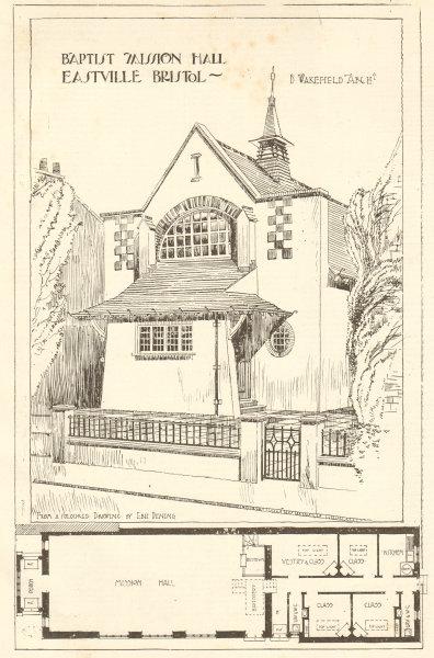 Associate Product Baptist Mission Hall, Eastville, Bristol, B. Wakefield Architect. Plans 1906