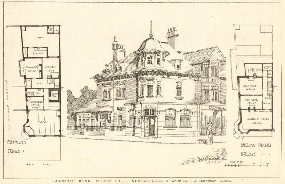 Associate Product Lambtons Bank, Forest Hall, Newcastle-upon-Tyne. White & Stephenson 1906 print