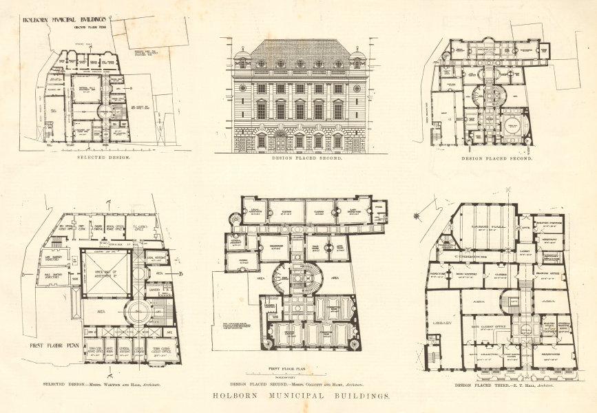 Associate Product Holborn Municipal Buildings. Selected design. Plans. London 1906 old print