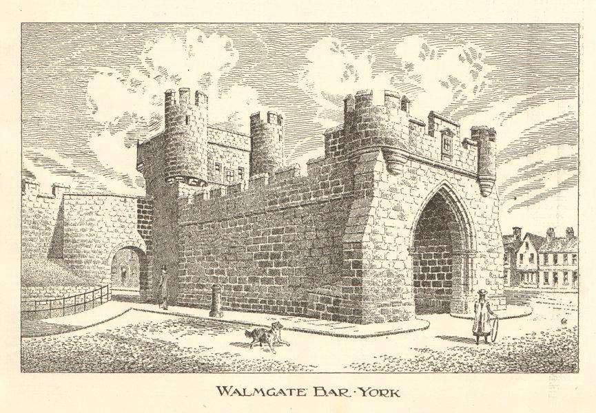 Associate Product Walmgate Bar, York 1906 old antique vintage print picture
