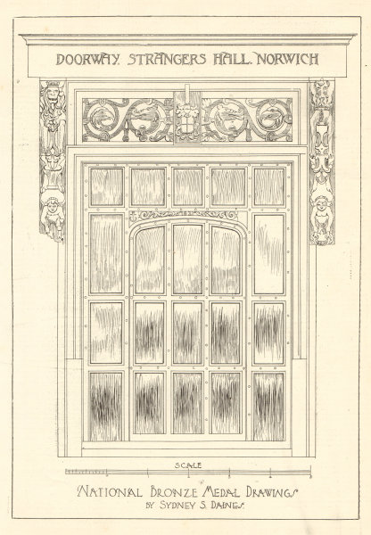 Associate Product Doorway, Strangers Hall, Norwich. Drawings by Sydney S. Daines. Norfolk 1906