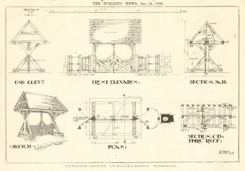 Associate Product 15C Lychgate, Heston, Middlesex. Elevation sketch section plan. London 1906