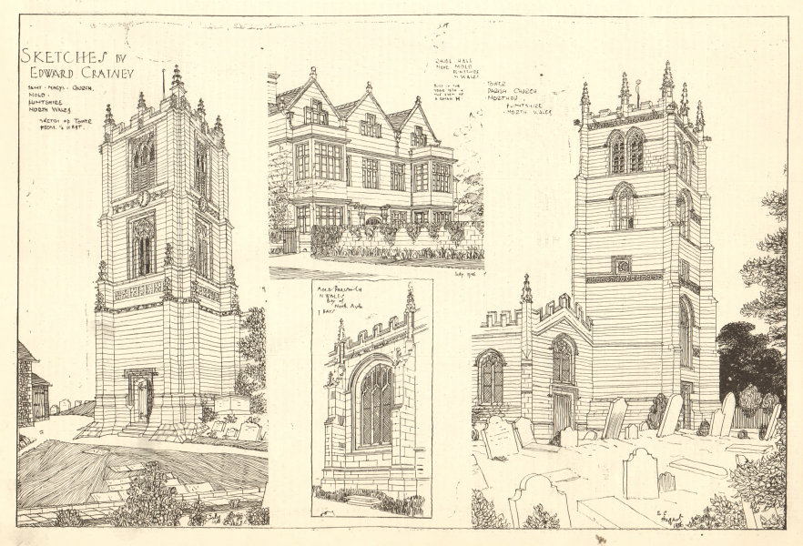 Associate Product Flintshire Mold Northop. St Mary's & parish churches. Rhual Hall. Cratney 1907