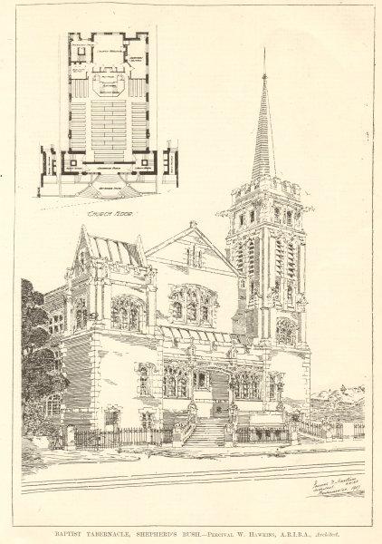 Associate Product Baptist Tabernacle, Shepherd's Bush. Percival W. Hawkins, Architect 1907 print
