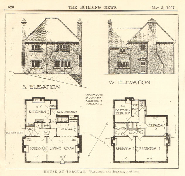 Associate Product House at Torquay - Waymouth & Johnson, Architects. Elevations plans. Devon 1907