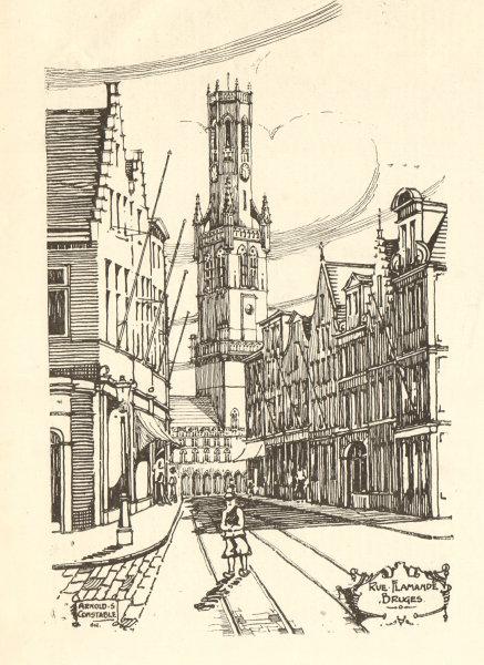 Associate Product Rue Flamande, Bruges. Arnold S. Constable. Belgium 1907 antique print