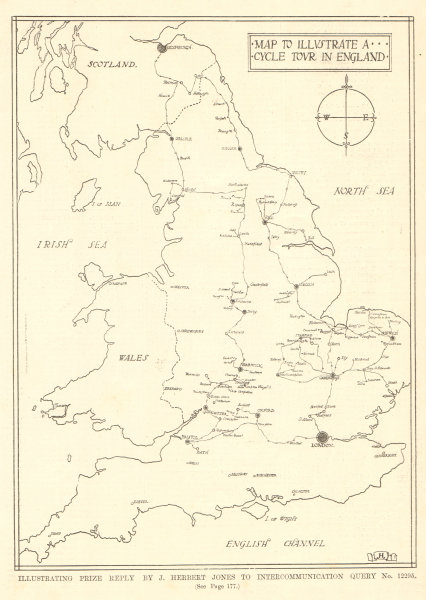 Associate Product Map to illustrate a cycle tour in England. Prize reply by J. Herbert Jones 1907