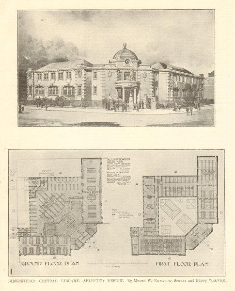 Associate Product Birkenhead Central Library. Design by W. Edwardes Sproat & Eldon Warwick 1907