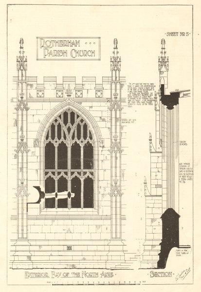 Associate Product Rotherham Parish Church. Exterior bay of the north aisle. Yorkshire 1907 print