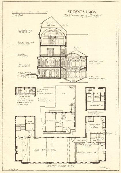 Students Union University Of Liverpool Ashton Street Floor Plan Section 1907
