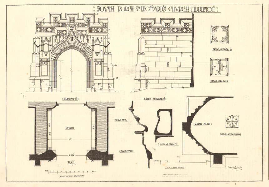 Associate Product South Porch, St Leonards Church, Middleton. Elevations section plan. Sussex 1907
