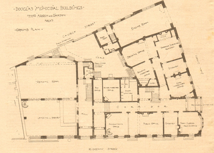 Associate Product Douglas Town Hall, Isle of Man. Ardron Dawson. Ridgeway & Church Street 1900