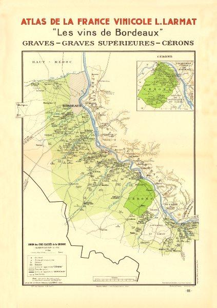 Associate Product BORDEAUX VINS WINE MAP. Graves - Graves Supérieures - Cérons. LARMAT 1944