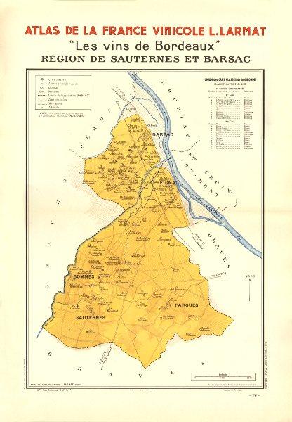 BORDEAUX VINS WINE MAP. Région de Sauternes et Barsac. LARMAT 1944 old