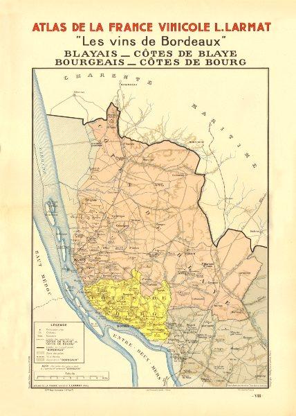 Associate Product BORDEAUX VINS WINE MAP. Blayais Côtes de Bourg & Blaye Bourgeais. LARMAT 1944
