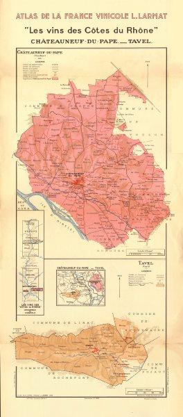Associate Product RHÔNE WINE MAP. Châteauneuf-du-Pape AOC & Tavel AOC. LARMAT 1943 old