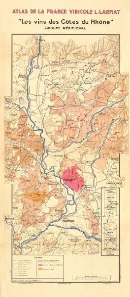 Associate Product RHÔNE WINE MAP South. Châteauneuf-du-Pape, Tavel & Côtes du Rhône. LARMAT 1943