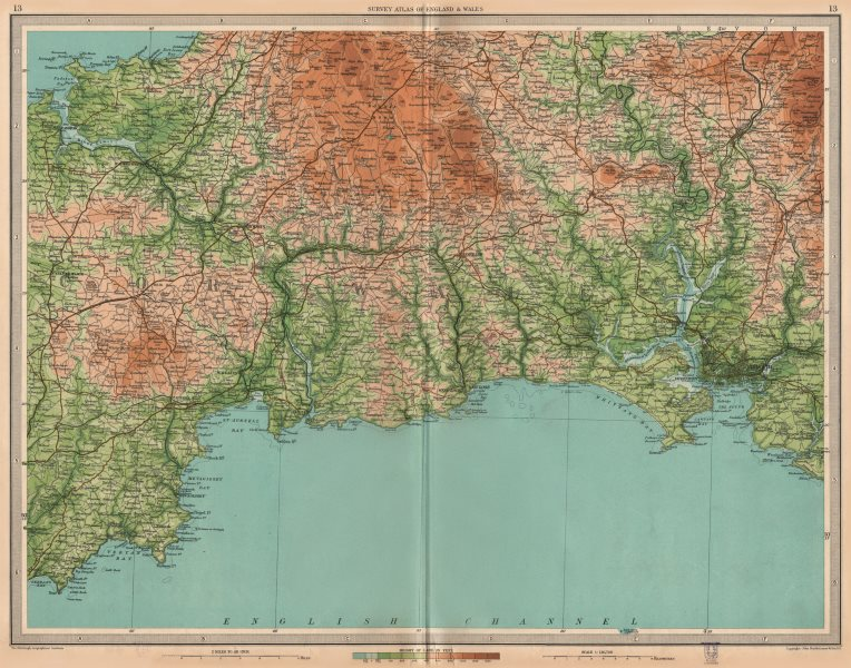 Associate Product CORNWALL. Bodmin Moor Plymouth Looe Fowey Padstow St Austell . LARGE 1939 map