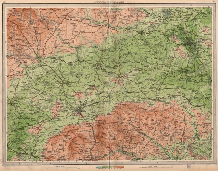 Associate Product UPPER THAMES VALLEY.Swindon Oxford Berks Downs Cirencester Cotswolds 1939 map