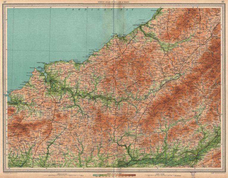 Associate Product SOUTH WEST WALES. Cardigan Pembrokeshire Carmarthen Llandilo Newport 1939 map