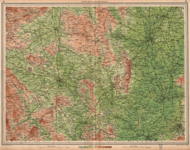 Associate Product WELSH MARCHES. Hereford Worcester Malvern Cheltenham Gloucester. LARGE 1939 map