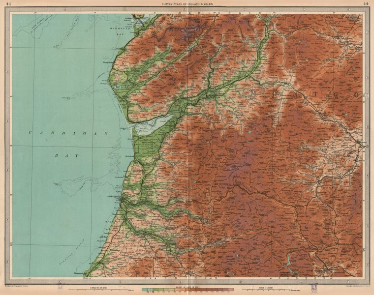 Associate Product CAMBRIAN MOUNTAINS.Aberystwyth Barmouth Aberdovey.Wales.Cardigan Bay 1939 map