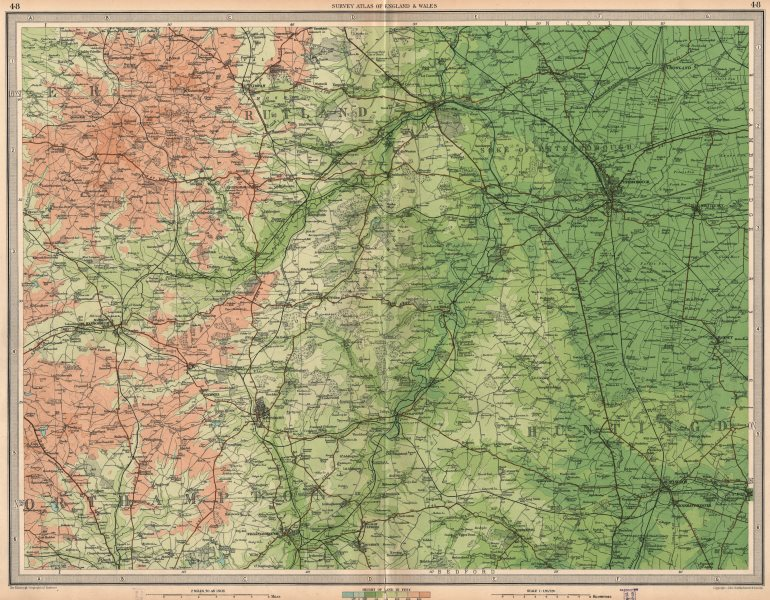 Associate Product EAST MIDLANDS. Soke of Peterborough Huntingdon Kettering Rutland.LARGE 1939 map