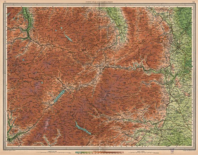 Associate Product DEE VALLEY. Bala Wrexham Llangollen Corwen Chirk Ceiriog Vale Clwyd 1939 map