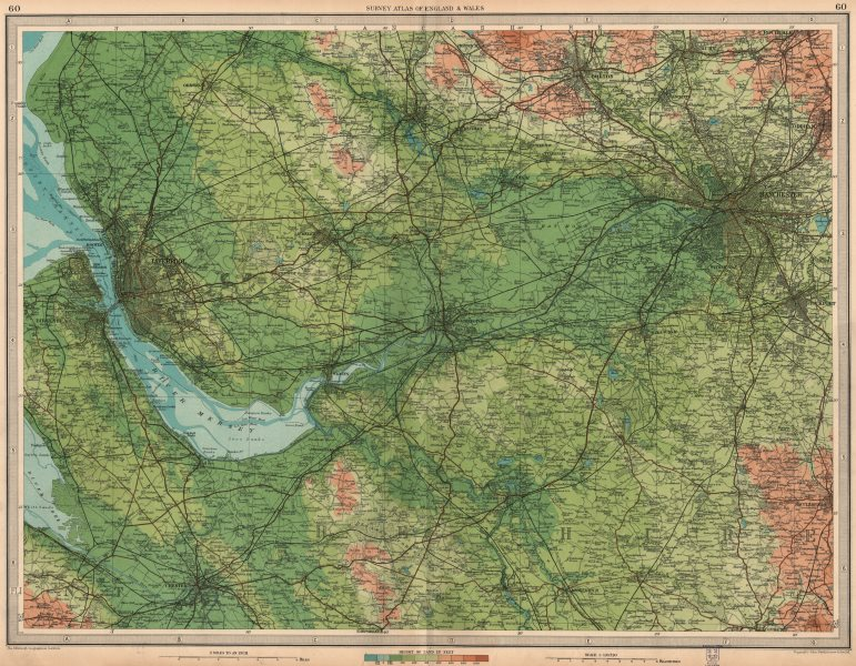 Associate Product NW ENGLAND. Liverpool Manchester Cheshire Bolton Wilmslow Bolton.LARGE 1939 map