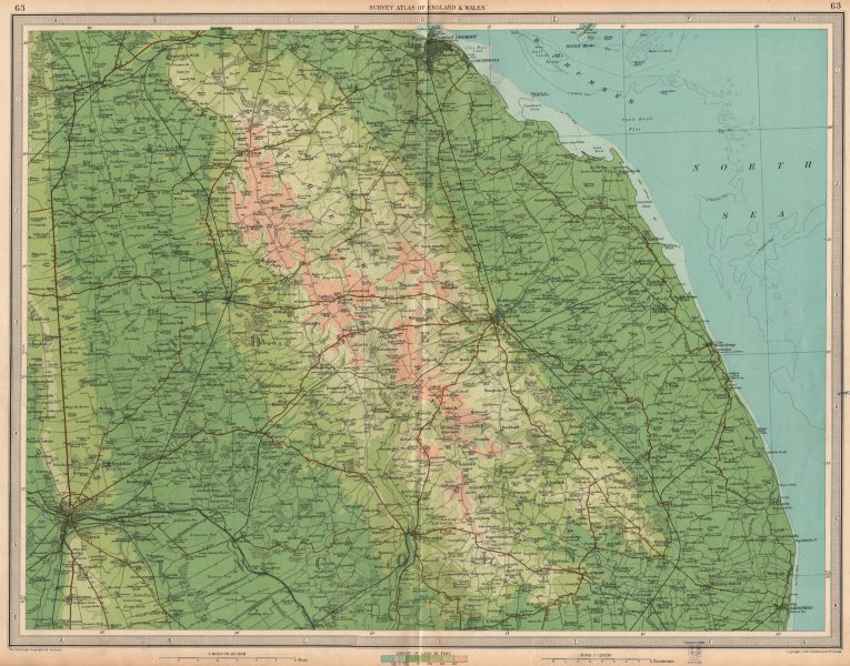Details about LINCOLNSHIRE WOLDS. Lincoln Grimsby Louth Skegness  Horncastle. LARGE 1939 map