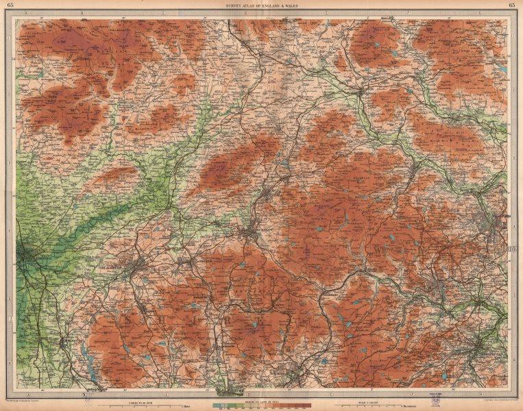 Associate Product LANCASHIRE/YORKSHIRE.Blackburn Halifax Bradford Burnley Ribble Valley 1939 map