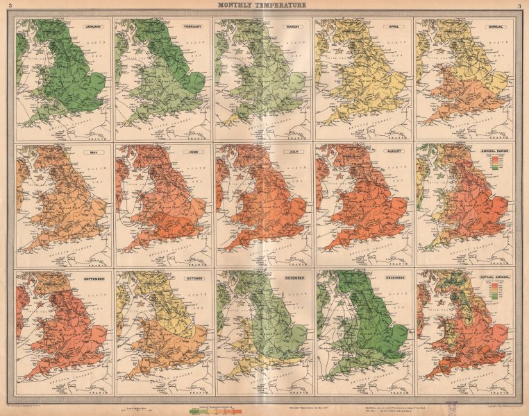 Associate Product GREAT BRITAIN. England and Wales. Monthly & annual Temperatures. LARGE 1939 map