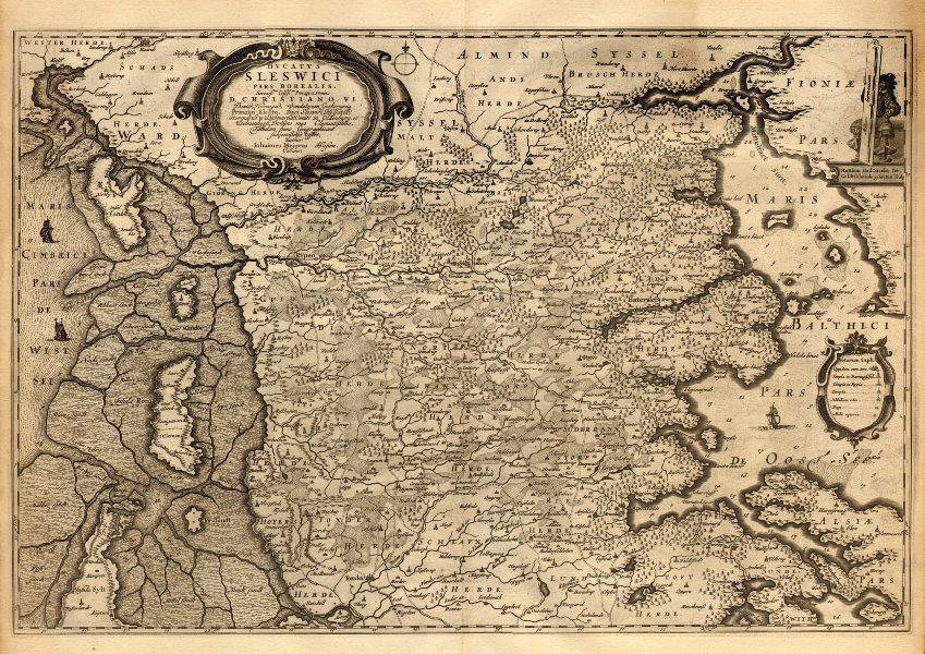 DUCATUS SLESWICI PARS BOREALIS. Duchy of Schleswig N. Denmark. BLAEU c1667 map