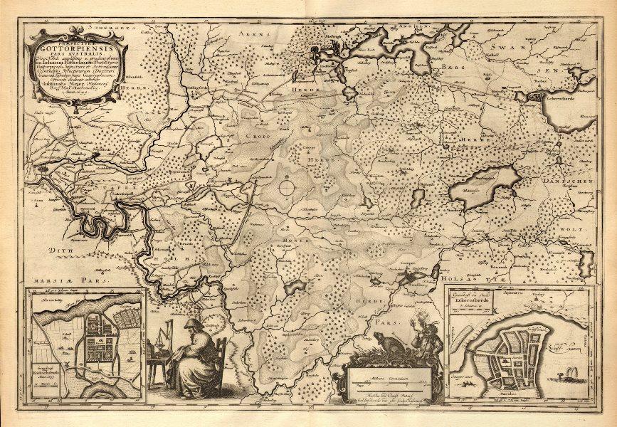 Associate Product PRAEFECTURÆ GOTTORPIENSIS AUSTRALIS.Eckernforde Friedrichstadt.BLAEU c1667 map