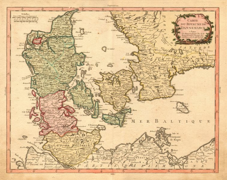 Associate Product 'ROYAUME DE DANNEMARCK' Denmark Schleswig Holstein S Sweden. BOURGOIN 1766 map