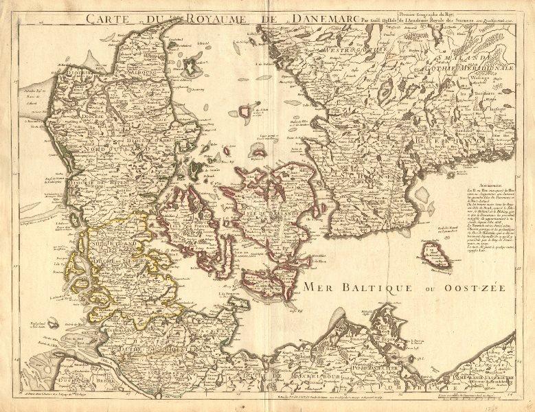 Associate Product ROYAUME DE DANEMARC'. Denmark Scleswig Holstein S. Sweden. DE L'ISLE c1769 map