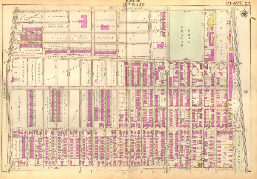 Associate Product PHILADELPHIA Tacony Holmesburg. Cottman Princeton Bleigh Tyson BROMLEY 1929 map