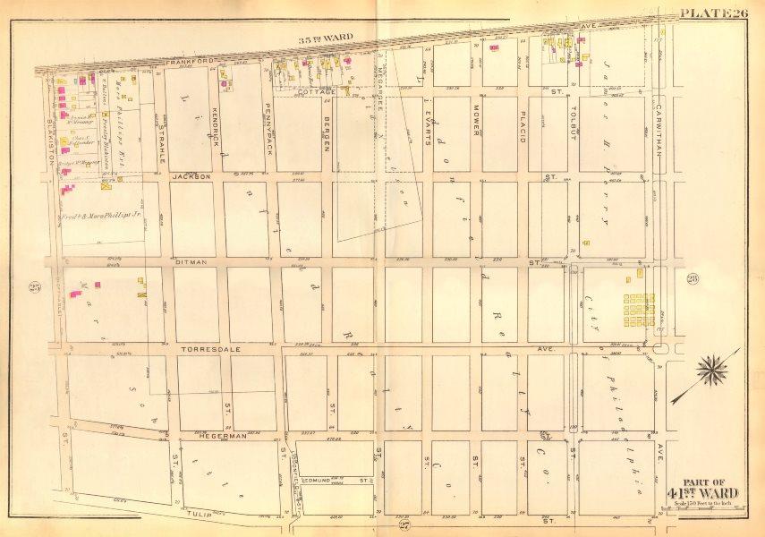 Associate Product PHILADELPHIA Holmesburg. Evarts Jackson Ditman Tulip Blakiston BROMLEY 1929 map