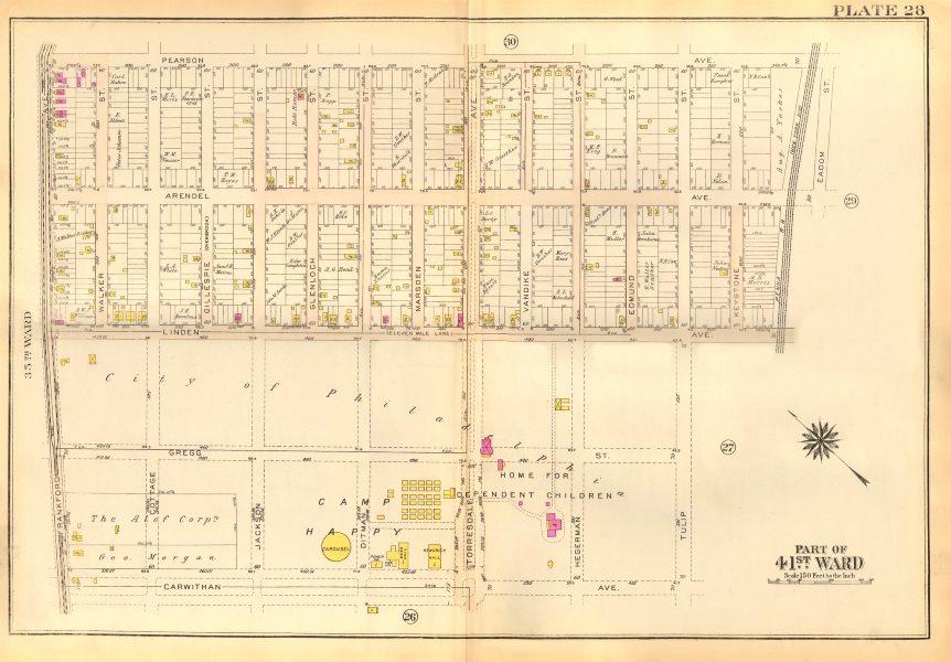 Associate Product PHILADELPHIA Holmesburg Torresdale. Linden Arendell Pearson Av BROMLEY 1929 map