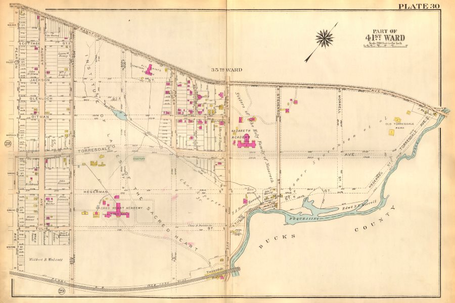 Associate Product PHILADELPHIA. Torresdale. Aubrey Pearson Convent Grant Avenues BROMLEY 1929 map