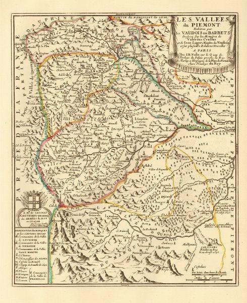 'Les vallées du Piemont habitees par les Vaudois'. Piemonte. NOLIN c1740 map