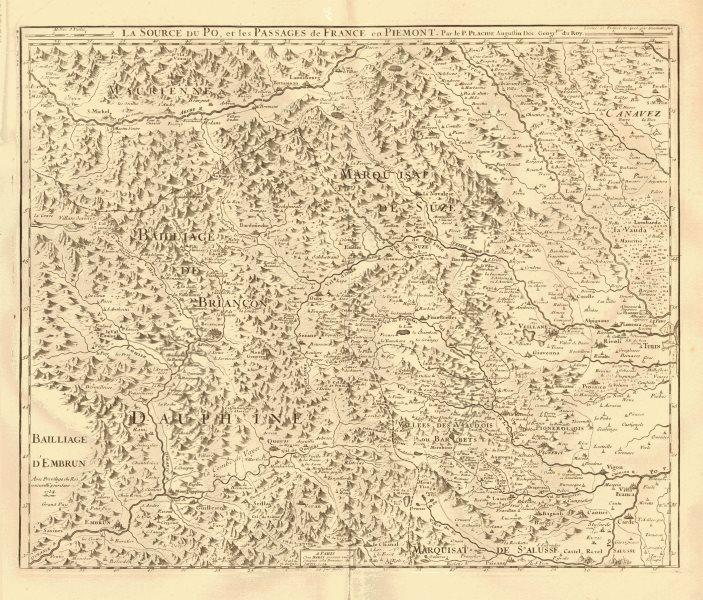 Associate Product 'La source du Po et les passages de France en Piémont'.River Po.PLACIDE 1734 map