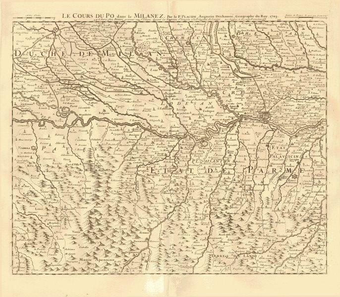 Associate Product 'Le cours du Po dans le Milanez'. Milano Piacenza Lodi Voghera. PLACIDE 1734 map